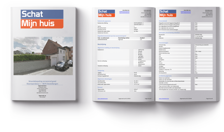 Mock-up van een schattingsrapport